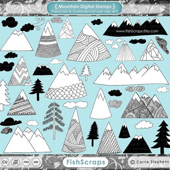 Mountains clipart illustration. Winter mountain scandinavian modern