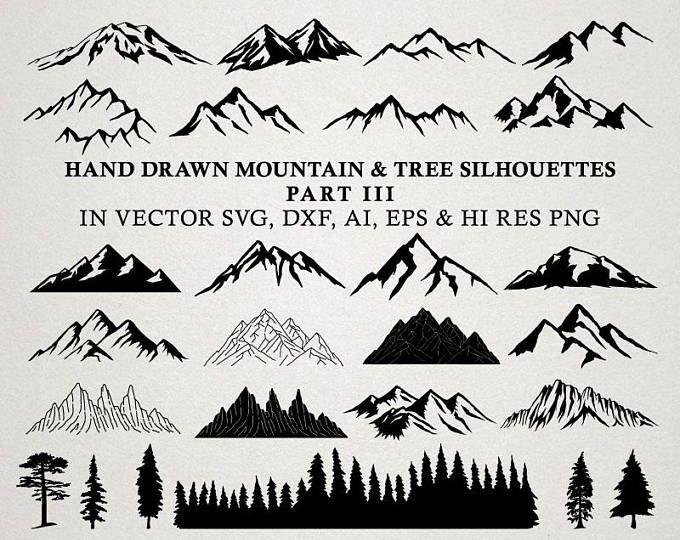 Clipart mountains mountain chain. Svg cut files hand