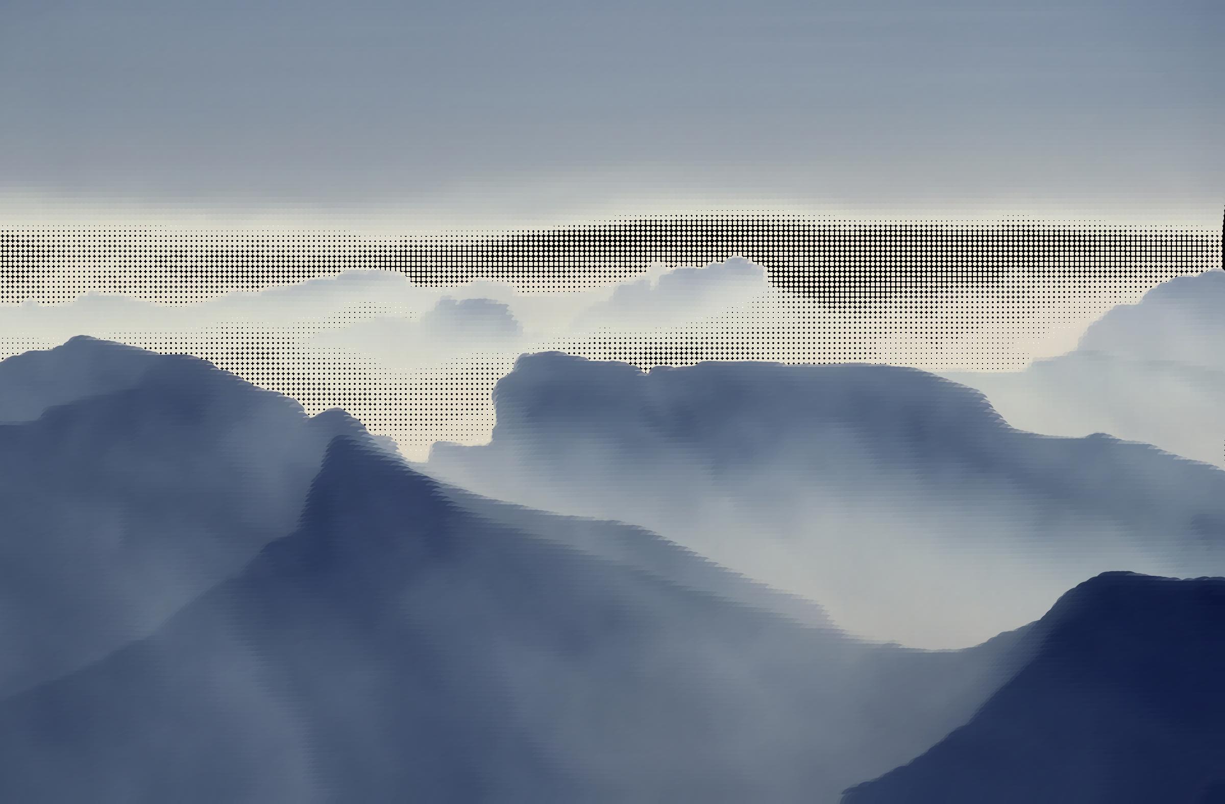 Surreal foggy valley icons. Fog clipart sky