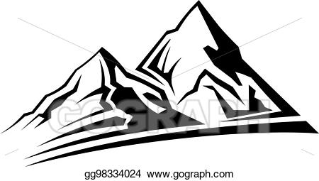 Mountains clipart simple. Vector stock mountain silhouette