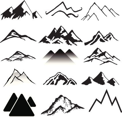 A variety of landscapes. Clipart mountains simple