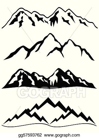 Vector mountains with snow. Hills clipart mountain slope
