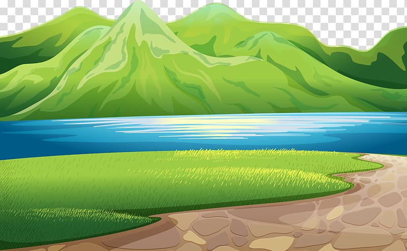 Body of and mountain. Clipart mountains water