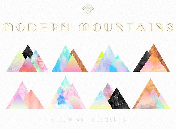 Mountain clipart water. Modern watercolor geometric
