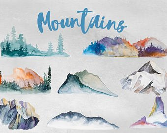 Etsy . Clipart mountains watercolor