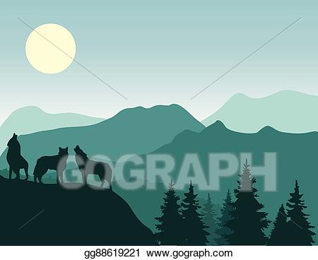 Vector art mountains wolf. Wolves clipart mountain