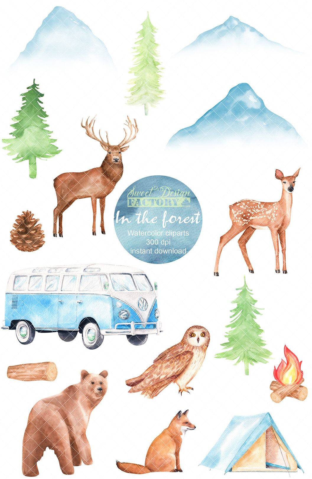 Camper forest van travel. Woodland clipart mountain