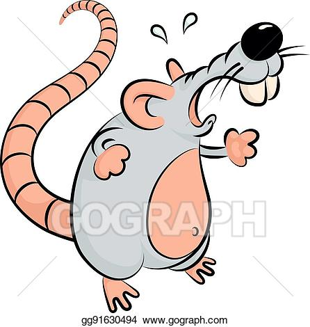 Eps vector angry mouse. Clipart rat mad