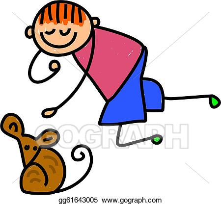 Stock illustration kid drawing. Clipart mouse boy