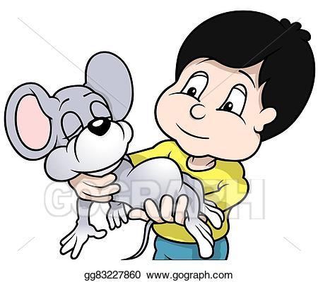 Clipart mouse boy. Vector stock holding sleeping