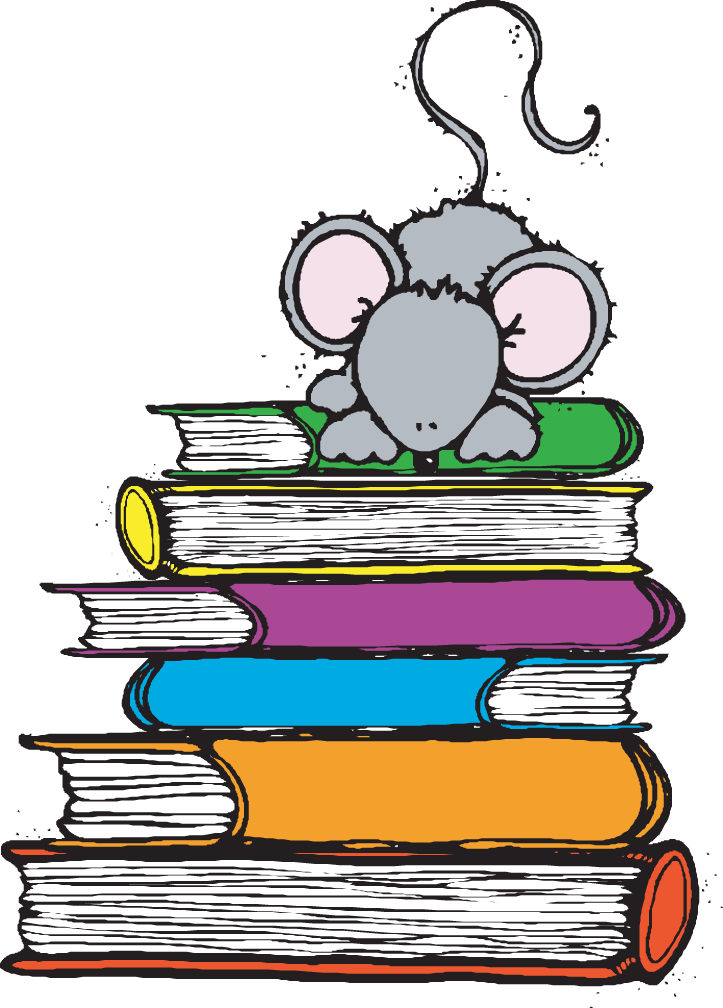 Clock clipart hickory dickory dock. Mouse on books png
