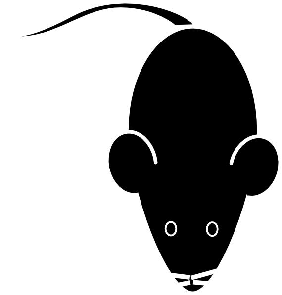 Lab mouse template black. Rat clipart mouseblack