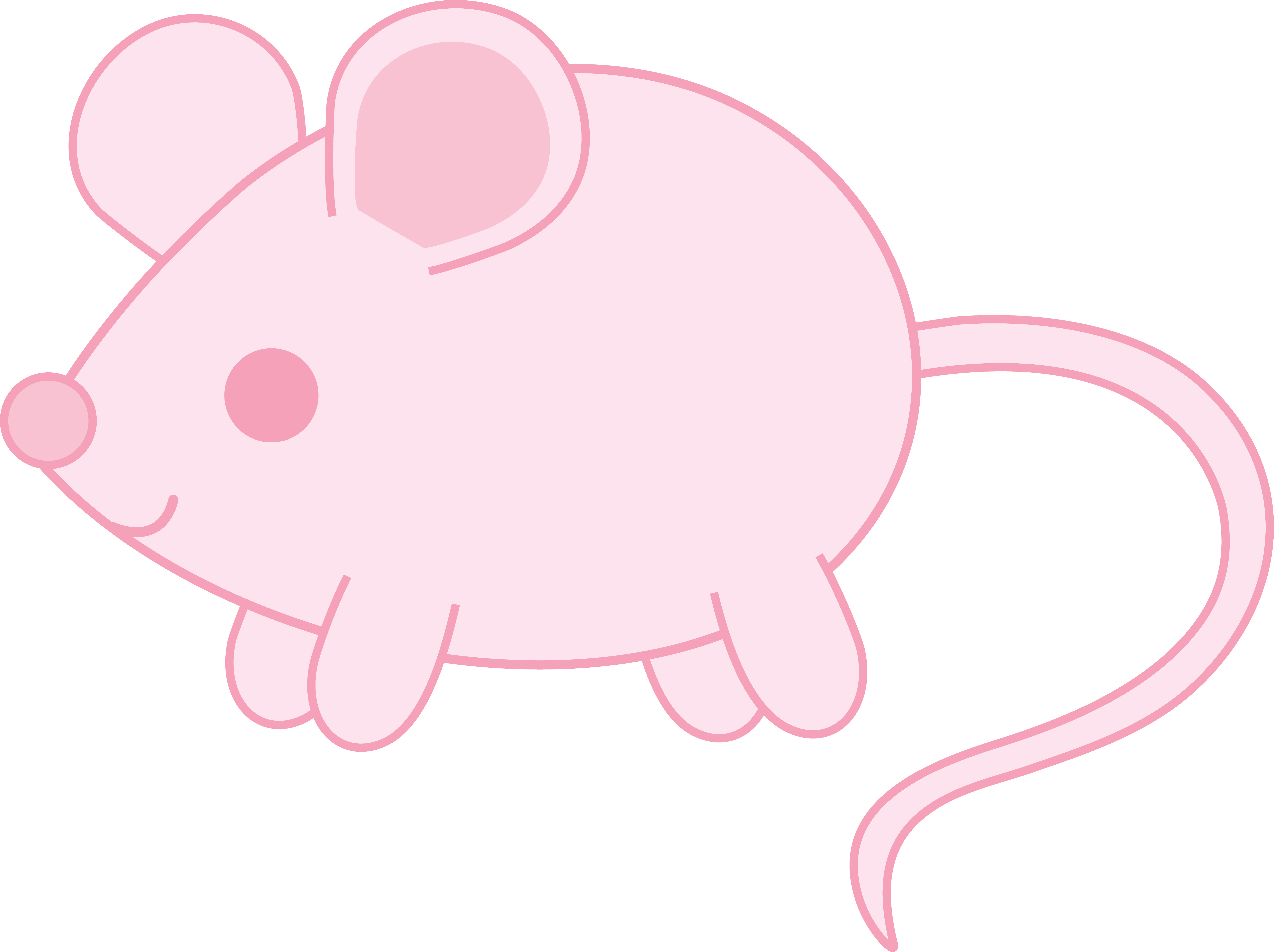 Clipart mouse mouse tail. Cute pink