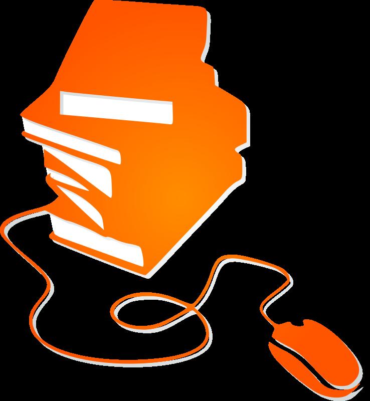 Clipart mouse orange. Books and silhouette medium