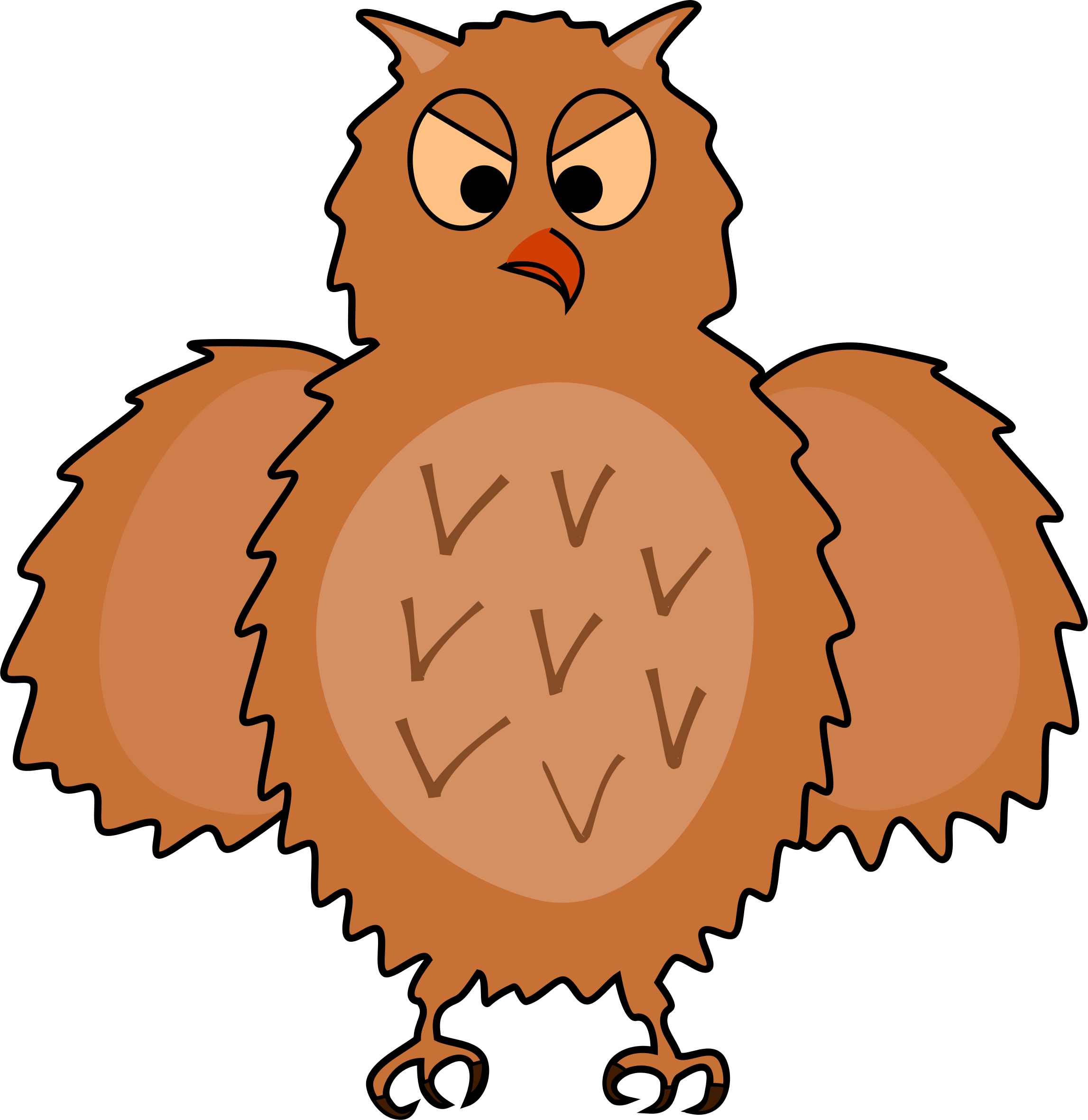 Wing clipart owl. Enraged front view spread