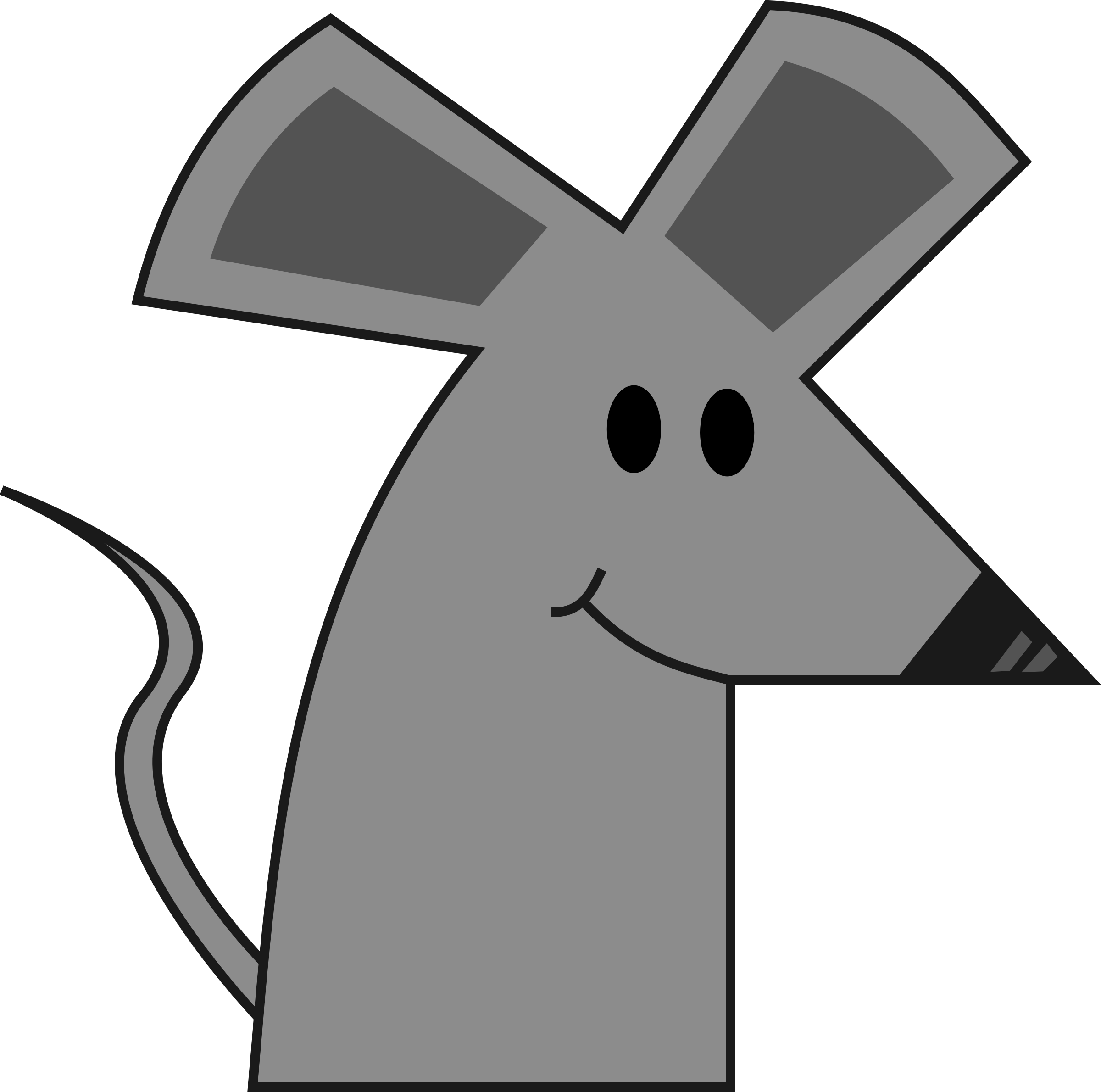 Cute smiling cartoon mouse. Clipart rat simple