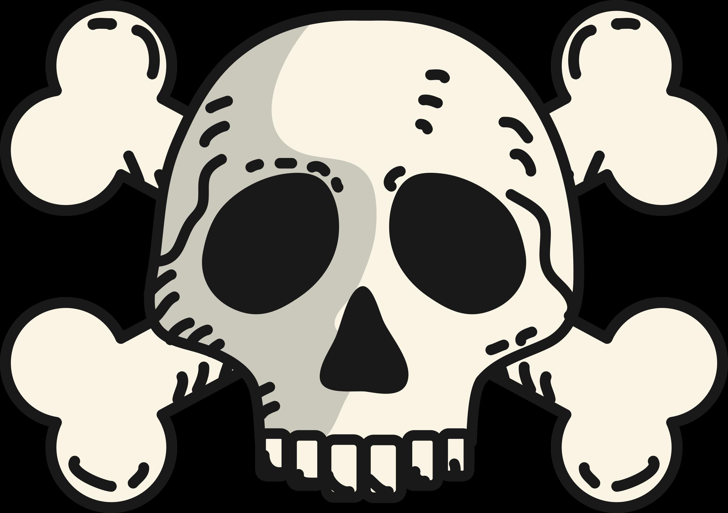 Skull and crossbones at. Skeleton clipart toon