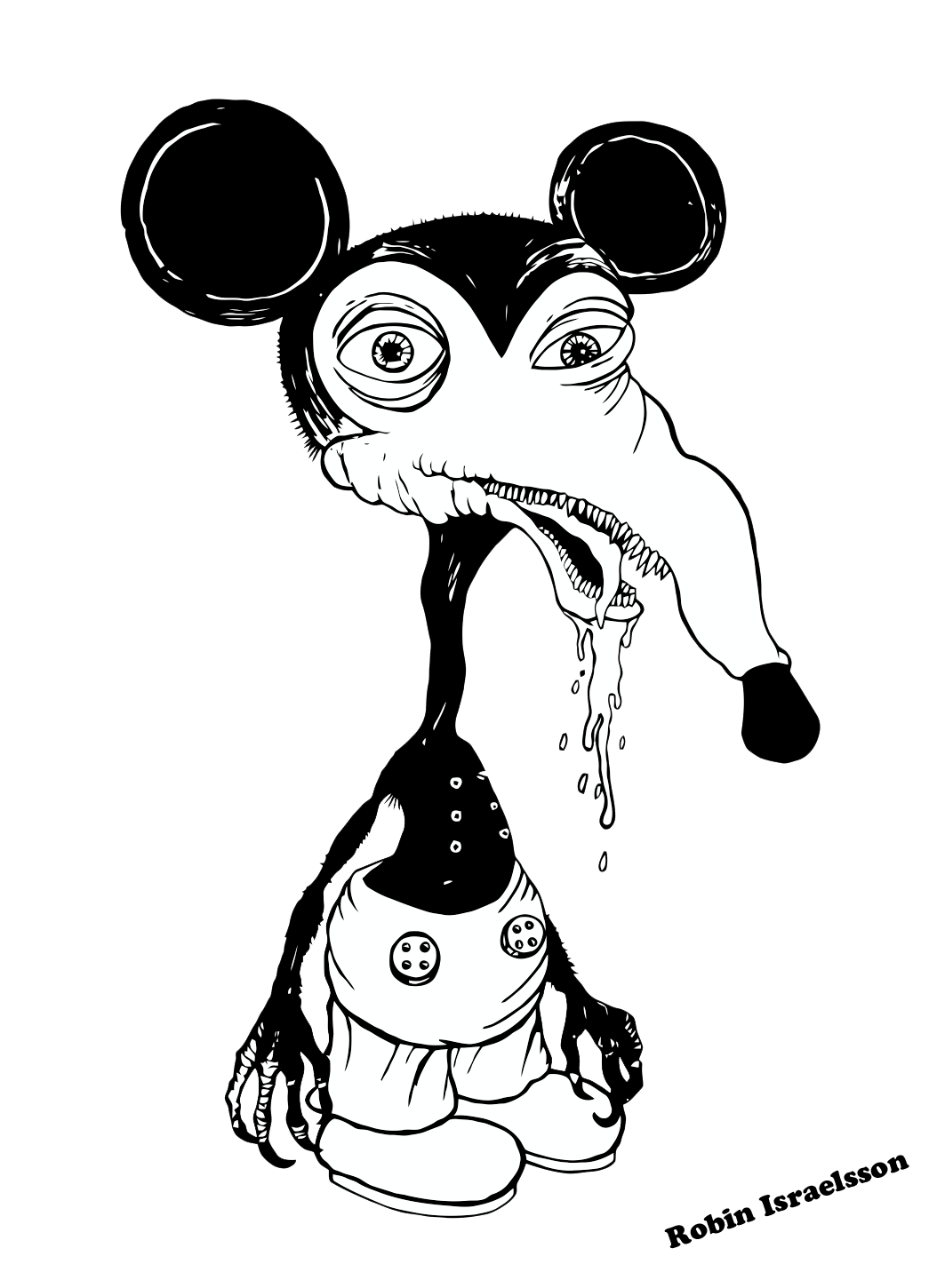 Mickey mouse drawing at. Shy clipart black and white