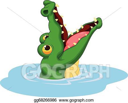 Vector illustration crocodile cartoon. Clipart mouth alligator