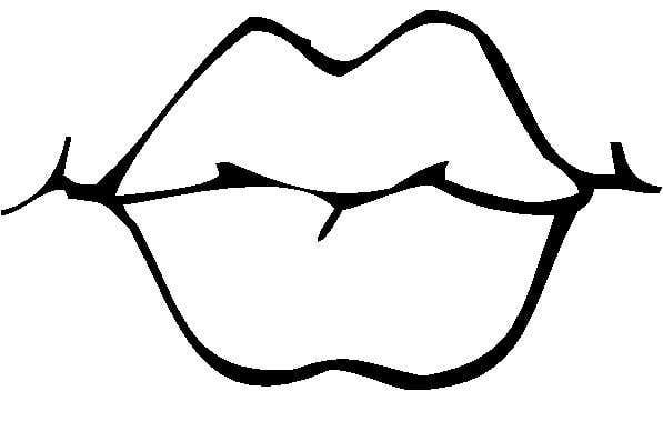 Lips clipart coloring page. Mouth black and white