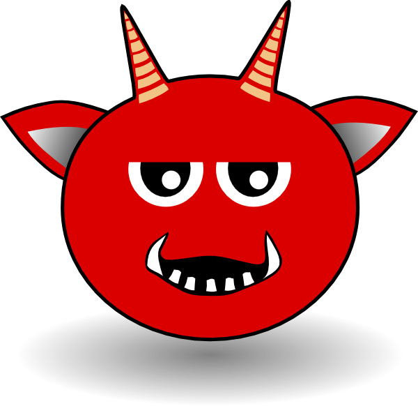 Red head cartoon clip. Clipart smile devil