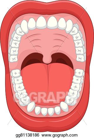 Vector illustration cartoon open. Clipart mouth healthy mouth