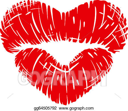 Vector art red lips. Mouth clipart lip shape