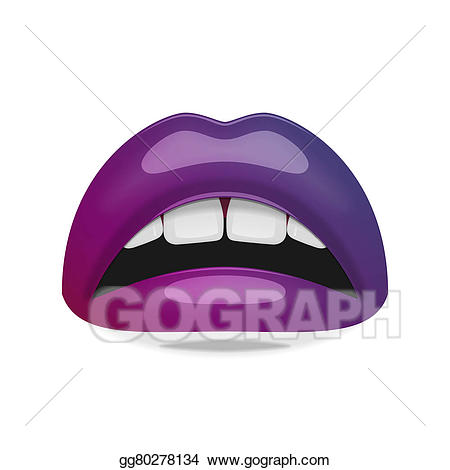 Clipart mouth realistic. Drawing female with glossy