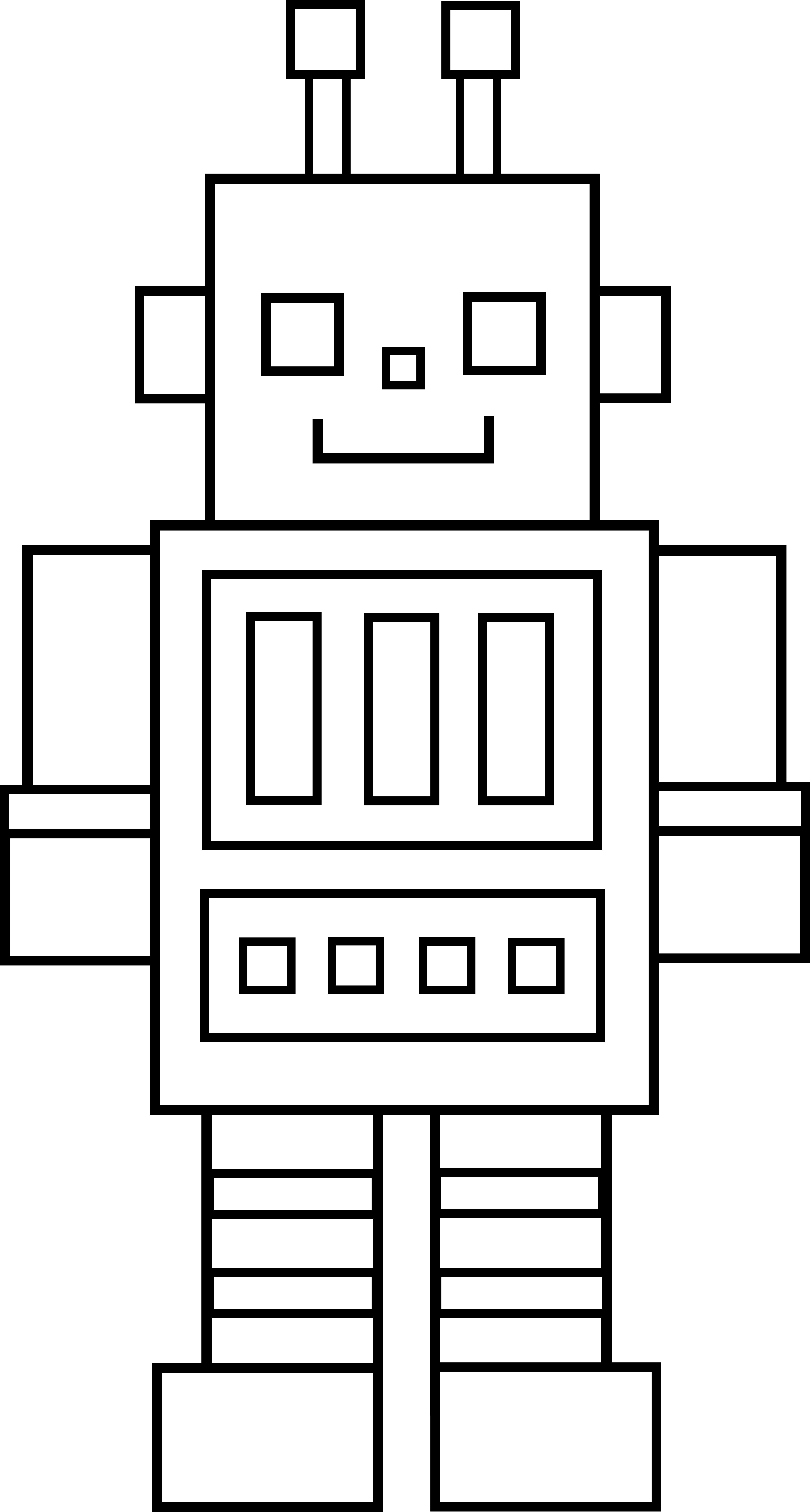 Clipart writing robot. Little line art v