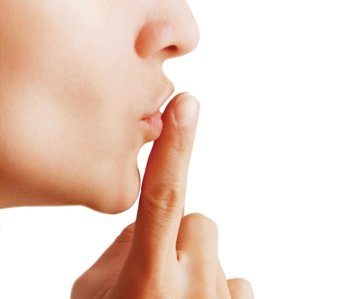 Finger on lips shhh. Fingers clipart silent