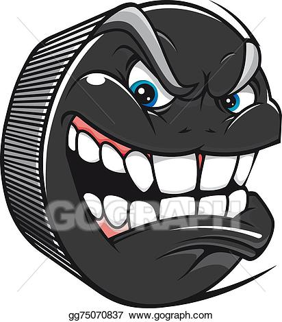 Clipart mouth toothy grin. Eps vector hockey puck