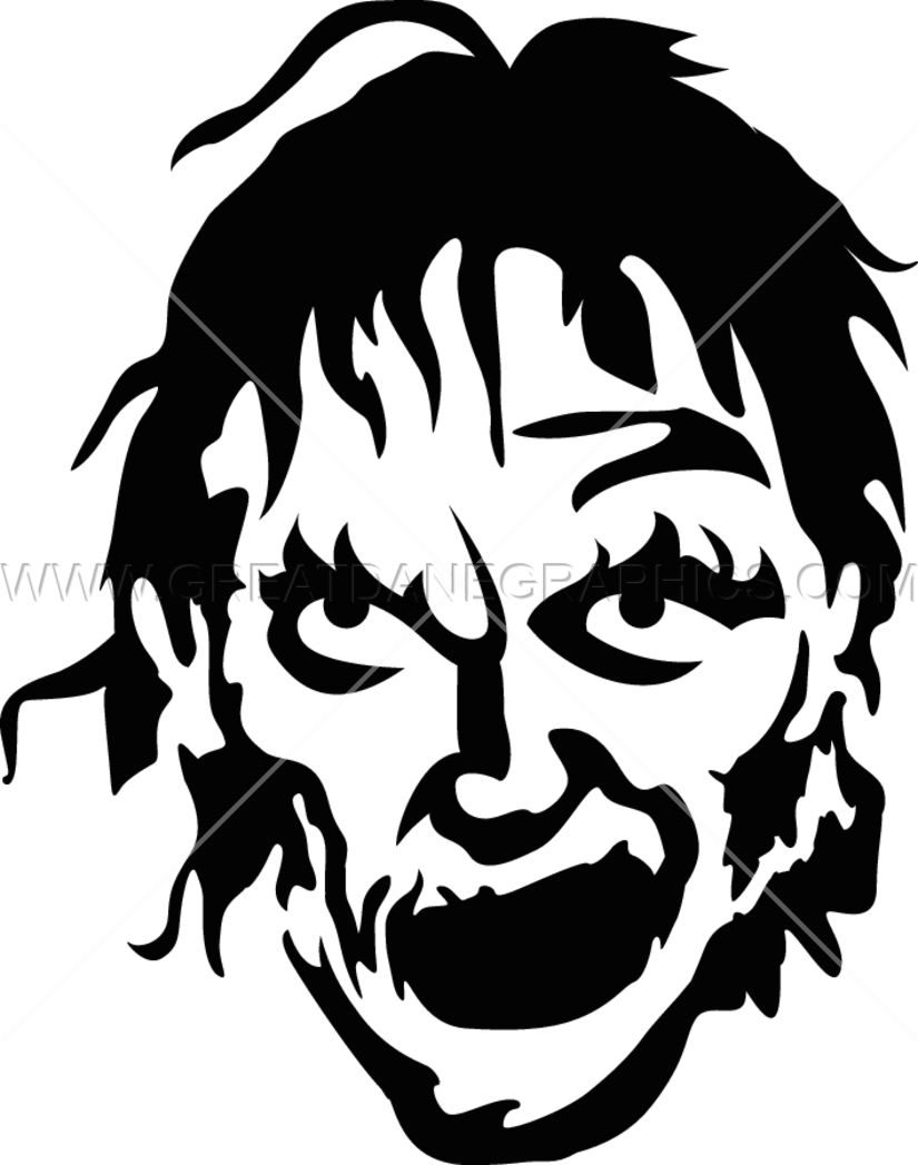 Zombie clipart face. Grin production ready artwork