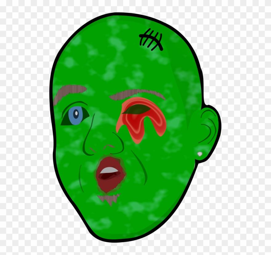 Cartoon remix leaf . Zombie clipart mouth