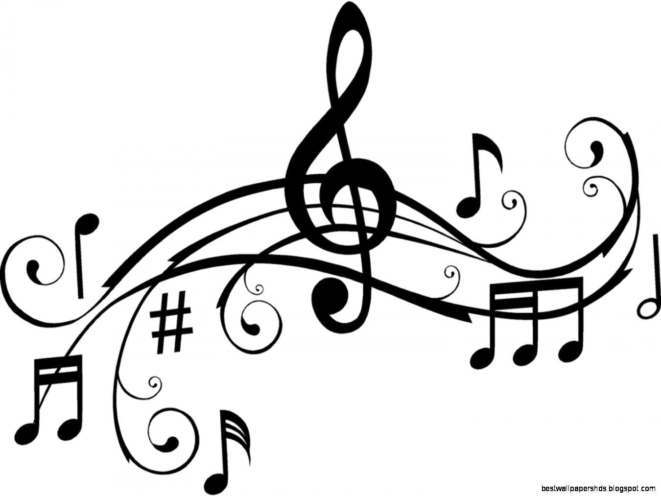 Notes black and white. Music clipart