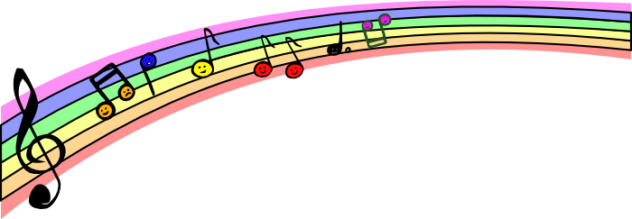 Music clipart. Free note a rainbow