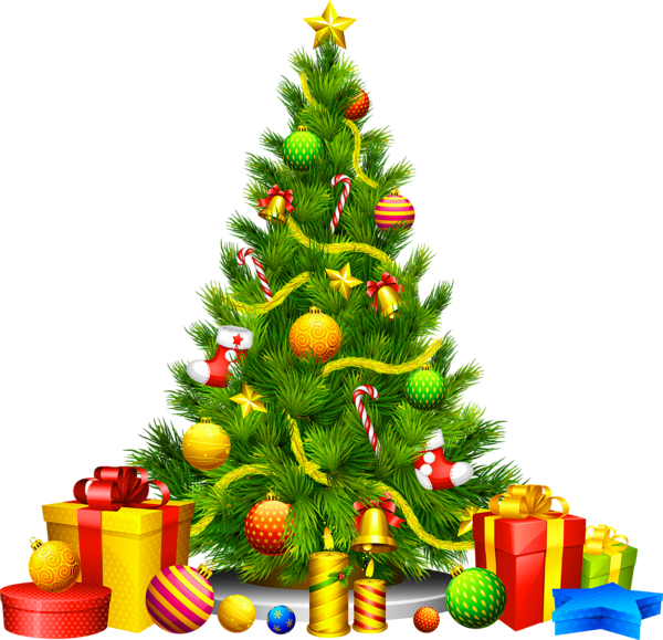 Large transparent with presents. Clipart music christmas tree