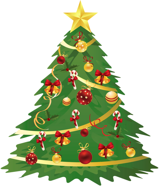 Large transparent with ornaments. Joy clipart christmas tree