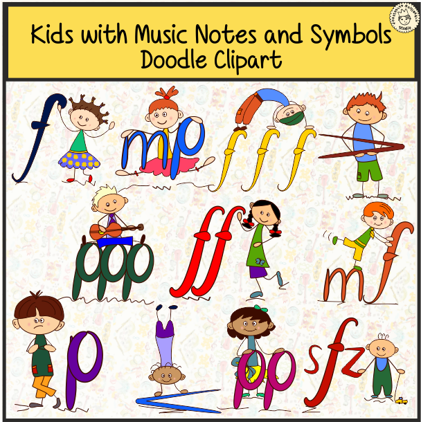 Kids with notes and. Clipart music doodle