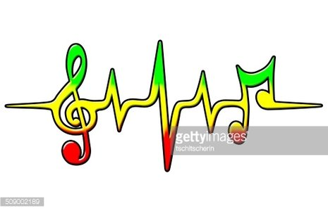 Reggae notes heart rate. Clipart music frequency