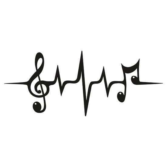 Heartbeat clipart music. Pulse notes clef frequency