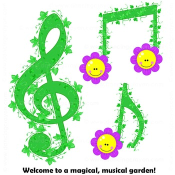Notes flowers . Garden clipart music