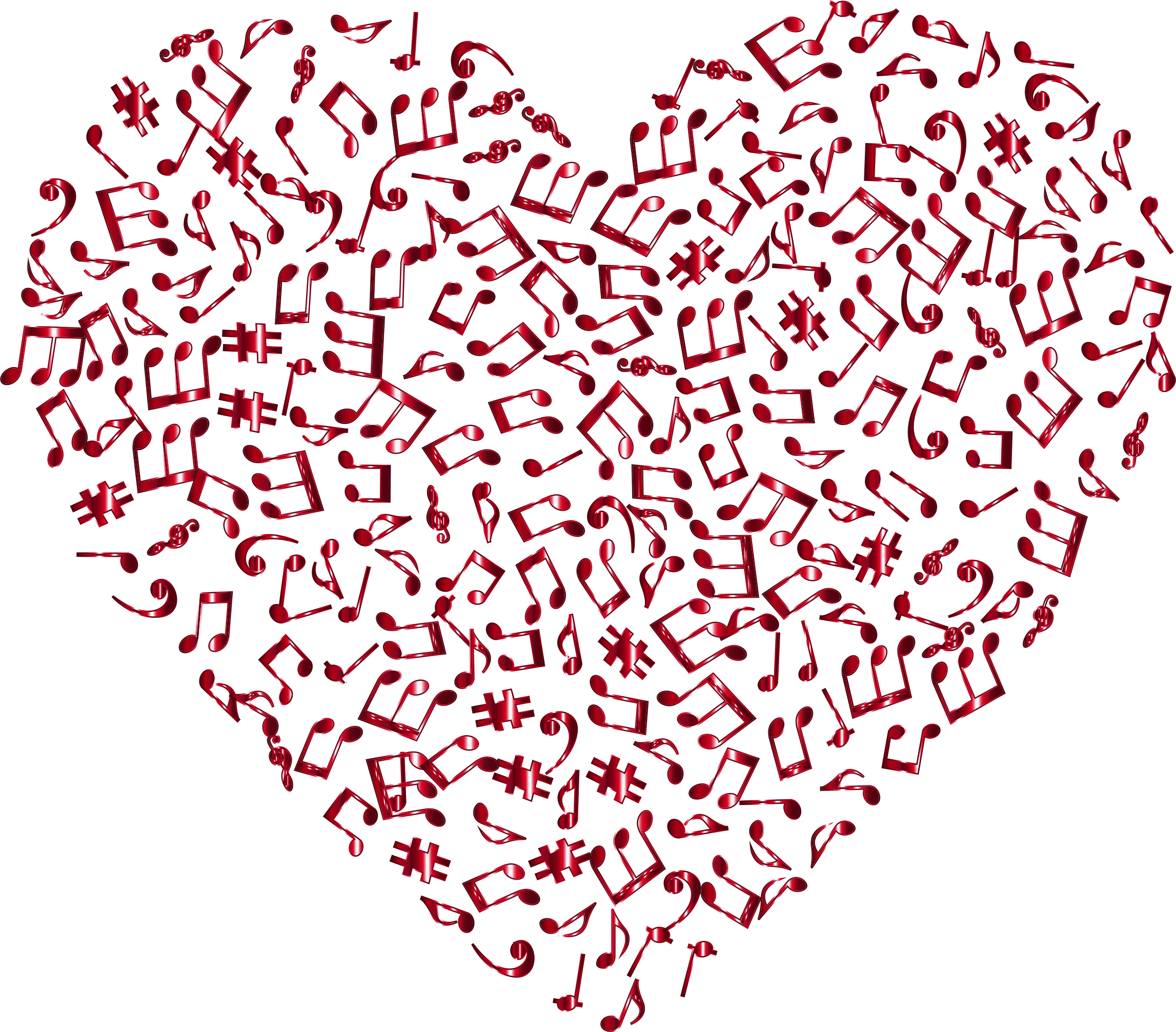 Crimson musical no background. Music clipart heart