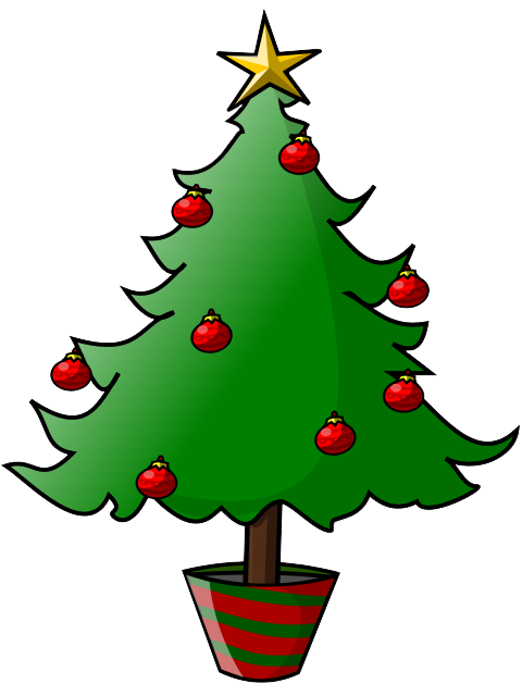 Musical tree with treble. Instruments clipart christmas