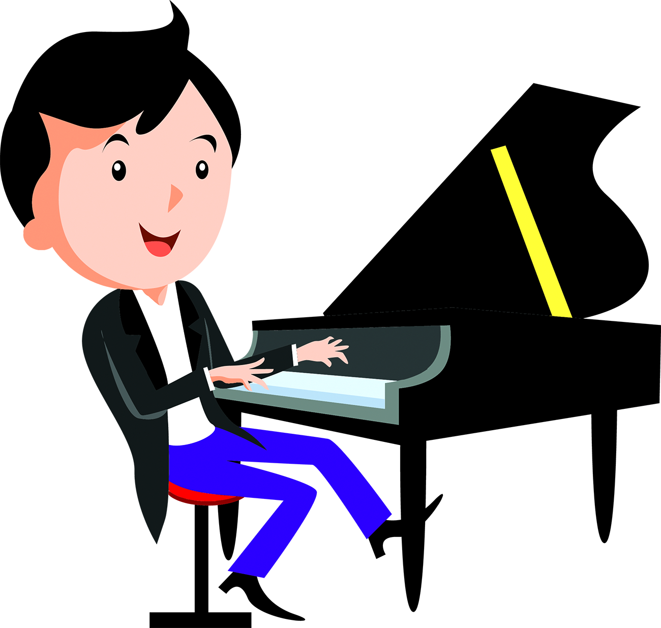 Cartoon network drawing play. Piano clipart pianist