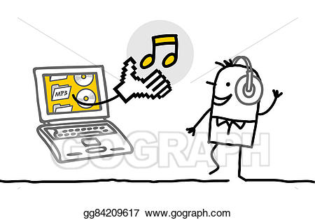 Clipart music laptop. Stock illustration man with