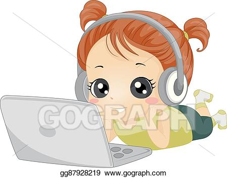 Music clipart laptop. Vector illustration kid girl