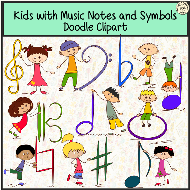 Clipart music notebook. Kids are holding basic