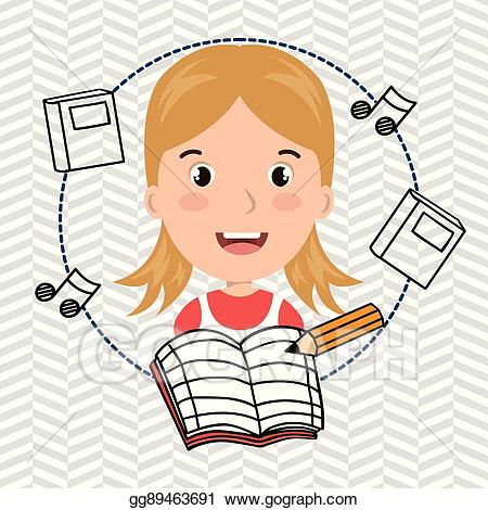 Clipart music notebook. Vector illustration student pencil