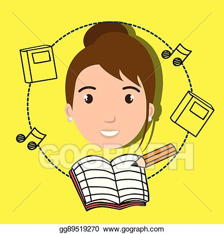Vector illustration student pencil. Clipart music notebook