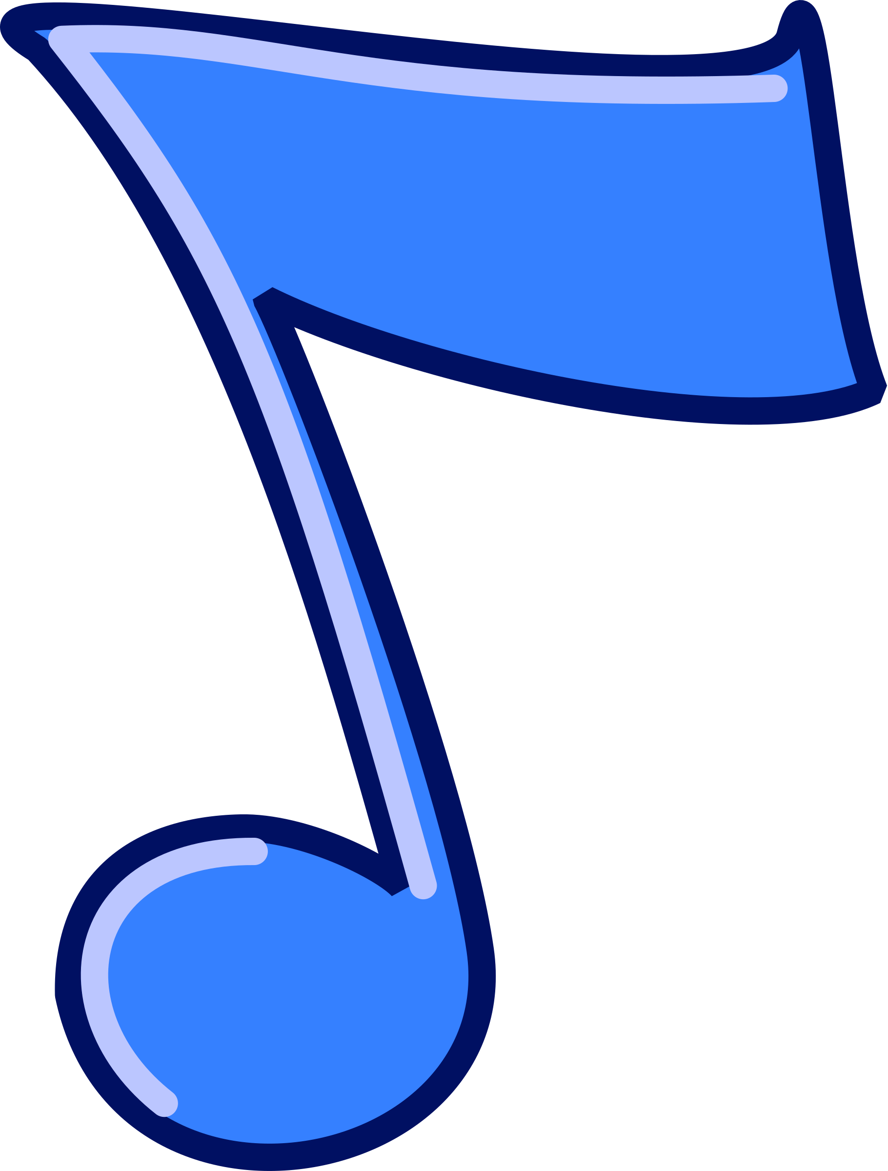 Musical note big image. Coloring clipart music